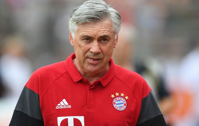LANDSHUT, GERMANY - JULY 23:  Carlo Ancelotti, head coach of Bayern Muenchen looks on ahead of the pre-season friendly match between SpVgg Landshut and FC Bayern Muenchen at ebm-Papst Stadion on July 23, 2016 in Landshut, Germany.  (Photo by Lennart Preiss/Bongarts/Getty Images)