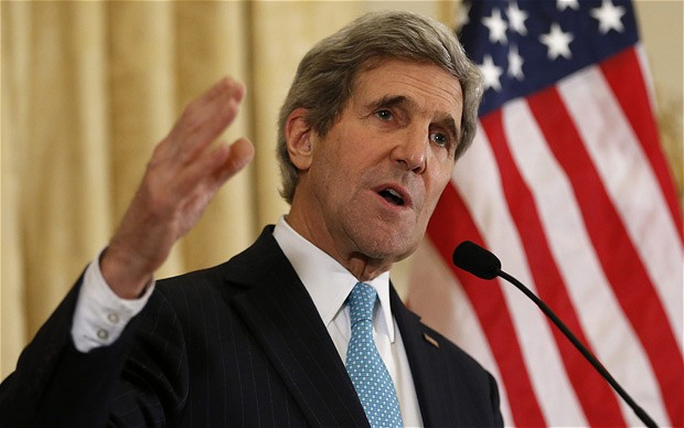 U.S. Secretary of State John Kerry speaks about the Ukraine crisis after his meetings with other foreign ministers in Paris, March 5, 2014. Kerry spoke to reporters at the U.S. ambassador's residence in Paris.  REUTERS/Kevin Lamarque   (FRANCE - Tags: POLITICS)